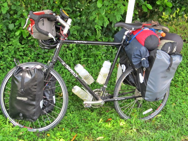 fully loaded Surly LHT bike touring in South America
