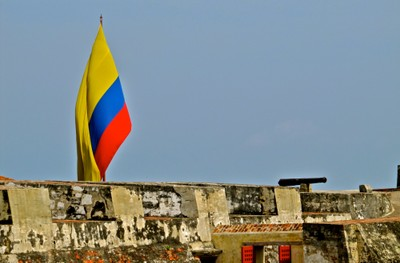 Colombian Flag Flying Above the Castillo de San Felipe