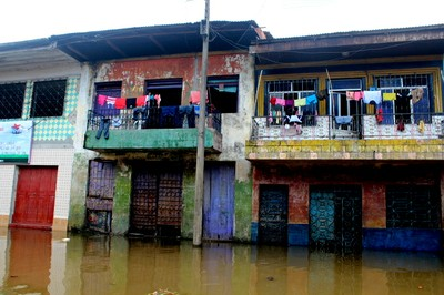 Iquitos's floating city - when the river rises, water comes up to the second floor